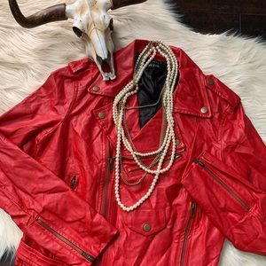 NWT Ark & Co. Red Faux Leather Jacket